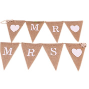 Mr & Mrs Burlap Banner - Vintage Triangle Bunting Banner with 8pcs Flags Party Decoration