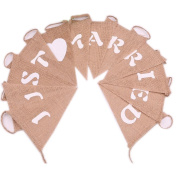 Just Married Burlap Banner - Vintage Triangle Bunting Banner with 12pcs Flags Party Decoration