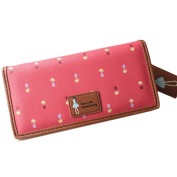 Sanwood Girls Cute Lovely Flower Pattern Faux Leather Buckle Purse Wallet Clutch Card Holder Long Handbags