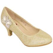 Girls Kids Diamante Kitten Heel Shoes Rhinestone Glitter Butterfly Casual New