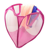 Foldable Pop-Up Mesh Laundry Hamper Storage Bag Basket Clothes Toys Books 16 x 12 Neon Pink