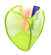 Foldable Pop-Up Mesh Laundry Hamper Storage Bag Basket Clothes Toys Books 16 x 12 Neon Green