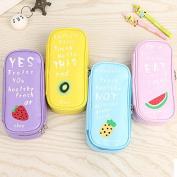 Katoot@ Kawaii fruit ice cream pencil case for girls cute big capacity double zipper school pencil bags for kids office school supplies