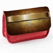 Opal 10006, Gold, Red School Kids Sublimation High Quality Polyester Pencil Case Pencil-box with Colourful Printed Design.21x12 cm.