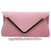 Wocharm Ladies Lavish Gold Trim Envelope Suede Velvet Womens Party Prom Wedding Clutch Bag Purse Bag Shoulder Handbag