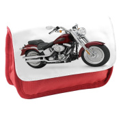 Motorbikes 10021, Motorcycle, Red School Kids Sublimation High Quality Polyester Pencil Case Pencil-box with Colourful Printed Design.21x12 cm.