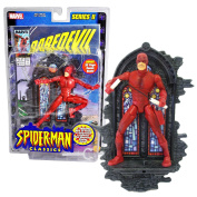 ToyBiz Year 2001 Marvel Legends Series II Spider-Man Classic Series 15cm Tall Action Figure - DAREDEVIL with 30 Points of Articulation, Nunchucks and Collector Wall Mountable Display Stand Plus Bonus 32 Page Comic Book