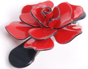 Luxury Hair Big Clip Baretta Rose with Red Bow