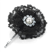Bling Online Small 5cm Black Lace Flower Slide Hair Grip with Pearl and Crystal Detail.