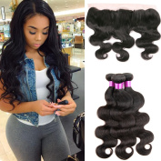 Brazilian Virgin Hair Straight Weave 4 Bundles with Ear To Ear Lace Frontal Closure (13*4) 8A Unprocessed Brazilian Human Hair Extensions Bundles Natural Colour Mixed Length