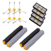 Leewa Accessories for iRobot Roomba 800/900 Series Vacuum Cleaner Replacement Part Kits - Includes 4 Pack Hepa Filters , 6 Pack 3-Armed Side Brushes and 2 Pack Tangle-free Debris Extractors