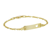 9ct Gold Plated Silver Figaro Identity Bracelet