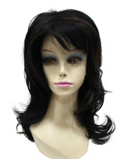 Natural Looking Black Mixed Colour Long Wavy Sexy Synthetic Hair Full Wig with Bangs for Women