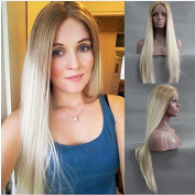 Fashion Blonde Ombre Long Silky Straight Wig With Brown Roots Natural Blonde Synthetic Lace Front Wigs Heat Resistant Fibre Hair