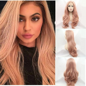 new arrival fashion style pinky peach body wave synthetic lace front wigs high quality handmade natural wave wig heat resistant fibre hair