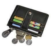 Le'aokuu Mens Genuine Leather Cowhide Money Credit Mini Card Case Coin Holder Slim Handy Pocket Wallet