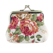 Kolylong Women Lady Retro Vintage Flower Small Wallet Hasp Purse Clutch Bag