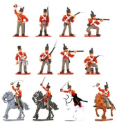 Plastic Toy Soldiers Napoleonic British Infantry Battle of Waterloo Painted Set 1/32 Scale 16 Pieces