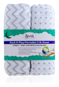 Ely's & Co Pack N Play Portable Crib Sheet Set 100% Jersey Cotton Unisex For Baby Girl And Baby Boy Grey Chevron And Polka Dot