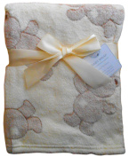 Baby Boys Girls Cream and Brown Cute Teddy Bears Blanket 100cm x 75cm approx