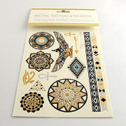 Metallic Tattoos in gold,silver,green and black, temporary for the skin, Motif 27