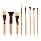 Hifina 8Pcs Professional Makeup Brush Set Makeup Foundation Eyeliner Blush Contour Lip Concealer Cosmetic Brushes for Beauty Blending Face Powder Eyeshadow Eyebrow
