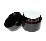 2PCS 50ML/100ML Brown Glass Refillable Cosmetic Jars with Liners and Screw Black Cap Empty Face Cream Lip Balm Storage Container Pot Bottle for Salve Diy Beauty Essential Oils Cosmetic Cream Lotion