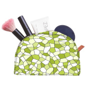 Snoogg Abstract Green Blocks Pattern Designer Multifunctional Canvas Pen Bag Pencil Case Makeup Tool Bag Storage Pouch Purse