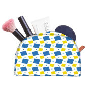 Snoogg Blue And Yellow Blocks Designer Multifunctional Canvas Pen Bag Pencil Case Makeup Tool Bag Storage Pouch Purse