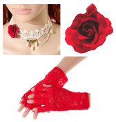 White Lace Pearl Victorian Choker + Red Hair Rose + Red Lace Fingerless Gloves