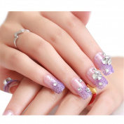 HimanJie Shining Manicure Patch Transparent Rhinestone and Pearls Bride False Nails