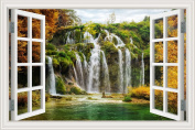 Green Tree Waterfall Landscape 3D Wall Sticker Vinyl Decals for Home Decor 80cm x 120cm