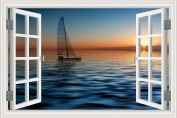 3D Window Scenery Wall Sticker Sunset Sailboat Seascape Wallpaper Vinyl Decal Home Decor 60cm x 90cm