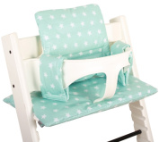 Highchair cushion Ukje Stokke Tripp Trapp - Mintgreen stars - COATED