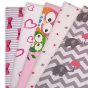 5 x I LOVE PINK New Design 100% Natural Cotton Baby Muslin Squares, Newborn Nappies, Cloths, Swaddles, Bibs, Wipes, Reusable Nappy, Lovely Gift for Newborn Baby Girl