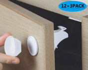 MYTK Updated Version 12 Locks + 3 Keys Pack Child Safety Cupboard Locks Magnetic Adhesive Baby Proofing Cabinet/Drawer Safety Locks No Drilling Needed