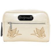 Sourpuss Sparrow Women Swallow Rockabilly Cosmetic Case - Betsy Bag Champagne 21x6,5x14 cm