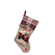 New Year Christmas Stockings Socks Plaid Santa Claus Candy Gift Bag Decoration-Santa Claus