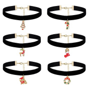 iWenSheng Womens Girls 6PCS Black Velvet Choker Necklace Set with Christmas Pendants for Party Holiday Gift