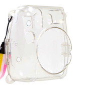 Alohallo Instant Mini 8 Transparent Case with Camera Shoulder Strap and Cleaning Cloth - Transparent