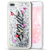 iPhone 7 Plus Case,PHEZEN 3D Creative Luxury Bling Glitter Liquid Case Infused with Glitter Heart Moving Soft TPU Bumper PC Back Hybrid Case For iPhone 7 Plus (2016) 14cm , Silver Smile