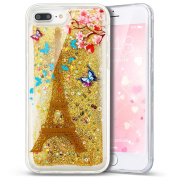 iPhone 7 Plus Case,PHEZEN 3D Creative Luxury Bling Glitter Liquid Case Infused with Glitter Heart Moving Soft TPU Bumper PC Back Hybrid Case For iPhone 7 Plus (2016) 14cm Gold Eiffel Tower