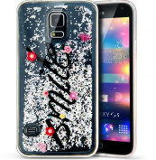 Galaxy S5 Case,S5 Neo Case,PHEZEN 3D Creative Luxury Bling Glitter Liquid Case Infused with Glitter Heart Moving Soft TPU Bumper PC Back Hybrid Case For Samsung Galaxy S5 /S5 Neo, Silver Smile