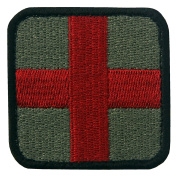 EmbTao Embroidered Medic Cross Tactical Hook and loop Patch - Olive & Red