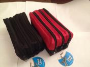 Triple Pocket Zip Rectangular Large Fabric Pencil Case -(BLACK) Ideal For School