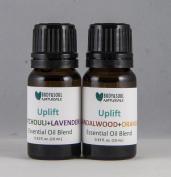 Uplift Essential Oil Duo, Patchouli+Lavender, Sandalwood+Orange Blends, 0.34 fl. oz. (10 ml.) - Total 0.7 fl. oz