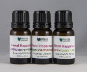 Floral Happiness Essential Oil Trio - Rose+Ylang Ylang, Jasmine+Sandalwood, Lavender+Peppermint, 0.34 fl. oz. (10 ml.) each