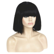 StrongBeauty Heat Resistant Women Kinky Straight Full Bangs Thick Wig For Black Women
