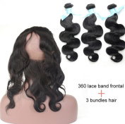 ATOZHair 7A Unprocessed Body Wave Nature Black Ear to Ear 360 Lace Band Frontal Closure with Bundles 400 Gramme in Total