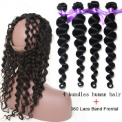 ATOZHair 7A Unprocessed Loose Wave Nature Black Ear to Ear 360 Lace Band Frontal Closure with 4 Bundles 300 Gramme in Total